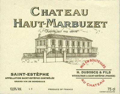 Vin Rouge Bordeaux A.O.C ST-Estephe Chateau Haut-Marbuzet 2009 75 cl.