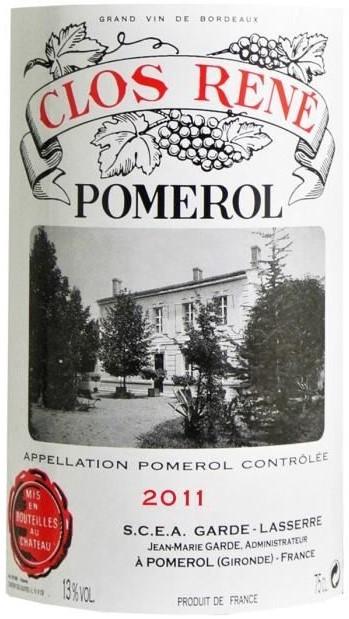 Vin Rouge Bordeaux A.O.C Pomerol Château Clos René 2011 75 cl